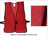Safety Vest Plain Soft Mesh - Brick Red