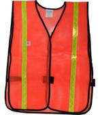 Safety Vests PVC Coated Orange  (1 Inch Lime Stripes)