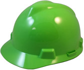 MSA # 815565 V-Gard Cap Style Safety Helmets with Fas-Trac Liners Lime Green