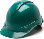 Pyramex #HP44135 Ridgeline Cap Style Safety Helmets with RATCHET Liners - Green - Oblique View