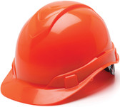Pyramex #HP44141 Ridgeline Cap Style Safety Helmets with RATCHET Liners - Hi Viz Orange - Oblique View