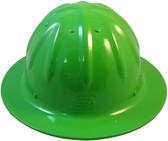 Aluminum Skull Bucket Full Brim Safety Helmets with Ratchet Liners - Hi Viz Green