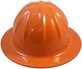 Aluminum Skull Bucket Full Brim Safety Helmets with Ratchet Liners - Hi Viz Orange