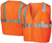 Pyramex  Hi-Vis Self Extinguishing Mesh Class 2  Safety Vests -  Orange w/ Silver Stripes - RVZ2120SE