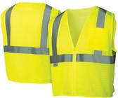 Pyramex  Hi-Vis Self Extinguishing Mesh  Class 2 Safety Vests -  Lime w/ Silver Stripes - RVZ2110SE