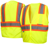 Pyramex Hi-Vis Stripe Mesh Safety Vests Class 2 - Lime w/ Contrasting Stripes - RVZ2210