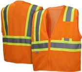 Pyramex Hi-Vis Mesh Safety Vests Class 2 - Orange w/ Contrasting Stripes - RVZ2220