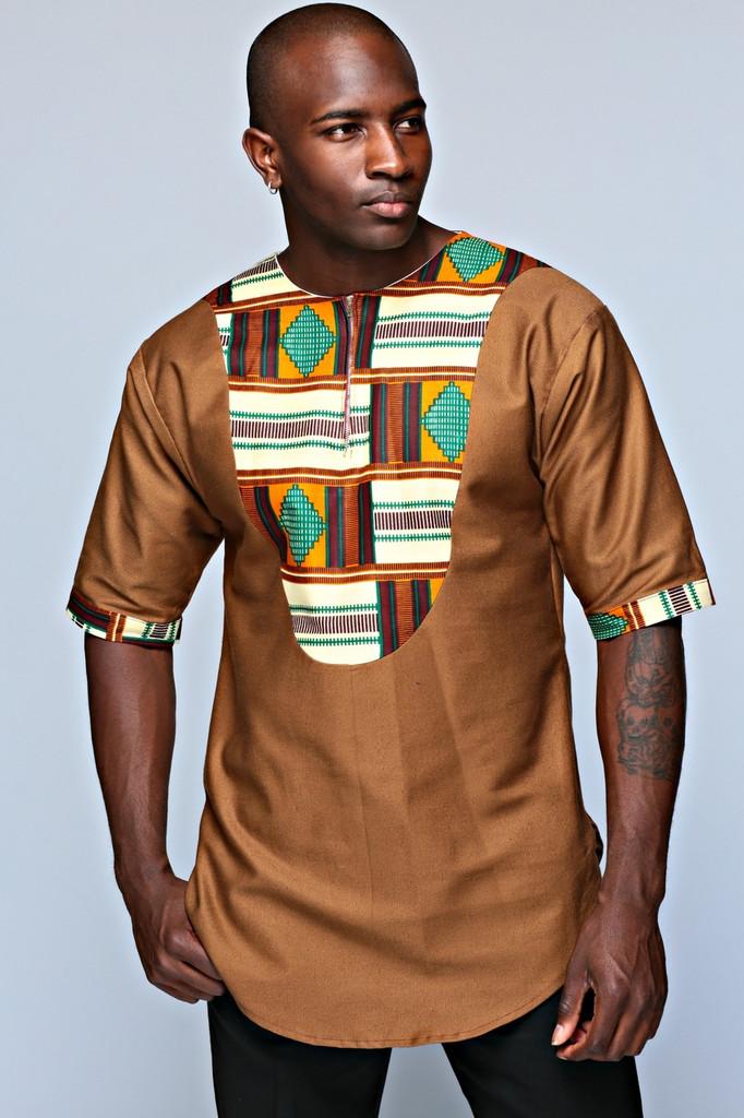 Jabali Men's Top (Brown)