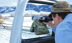 Using a saddle bag to hold up a spotting scope, quickly.
