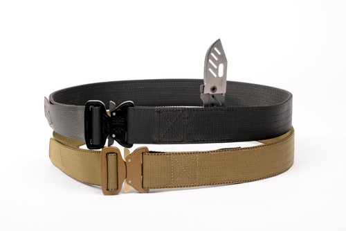 The stiffest belt we offer.  Two web layers sandwich two poly inner layers to create a belt that is vertically stiff.  It still moves with you for comfort.