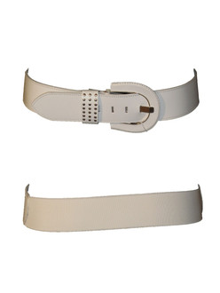 Ladies Leather White Belt - WAS £1.75   NOW £1.00