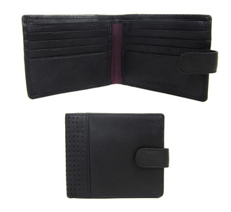 Men's Black Tab Fastener Leather Wallet  - £3.50