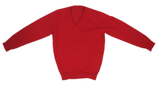 Ex M-S School Unisex Red V-Neck Jumper - £1.75