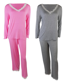 Ex M-S Lace Trim Long Sleeve Pyjama Set  - £5.50