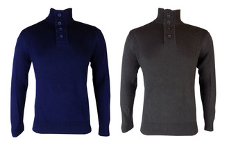 Ex F-F Mens Button Neck Jumper  - £4.95