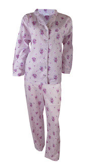 Ex M-S Ladies Pink Floral Pyjama Set - £5.75