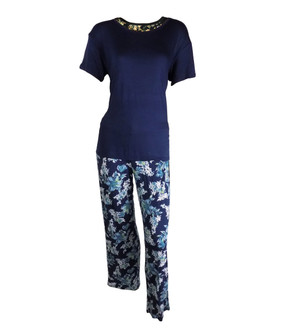 Ex Major Highstreet Ladies Blue Floral Pyjama Set - £5.50