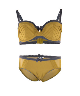 Ex M-S Ochre Bra & Brief Underwear Set - £4.50