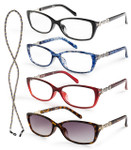 Set of four reading glasses-sun reader included
