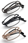 Gold Black Gunmetal folding pocket size reading glasses