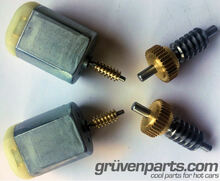 GruvenParts Replacement High Torque Motors and Strengthened Brass Spur Gears Pre-Mounted to New Steel Main Shafts for GM Vehicles with Power Folding Mirrors.  2 Sets Shown (enough for both mirrors)