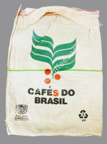 FRONT VIEW OF CAFÉS  DO BRASIL USED COFFEE SACK.