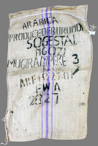 BURUNDY BLUE STRIPE COFFEE SACK FRONT