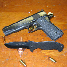"Emerson CQC15BTS Folding Knife 3.9"" Black Combo Blade with Wave, Black G10 Handles"