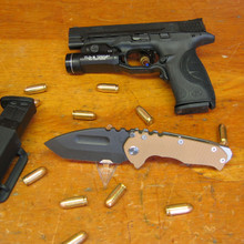 Medford Knife & Tool, Praetorian G, Coyote G-10/Flame Finish Titanium, Oxide Blade front