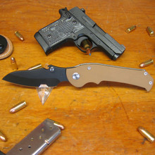 Medford Knife & Tool, Giant Ergonomic Folder with bottle catch on blade, with Ti/G10 frame front