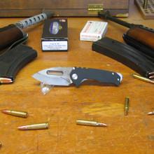 Medford Knife & Tool, Praetorian Genesis, Drop Point, Black G10/Ti Handle, D2 Vulcan Blade front