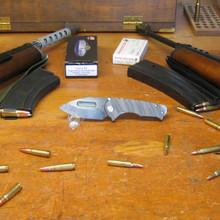Medford Knife & Tool, Praetorian Genesis T, Drop Point, Flame Ti/Ti Handle, D2 Vulcan Blade front