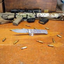 Medford Knife & Tool, Gigantes, Flame Ti/Ti Handle, D2 Vulcan Blade 2 front