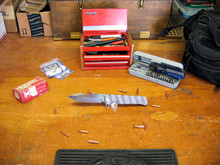 Medford Knife & Tool, Gigantes, Flame Ti/Ti Handle, D2 Vulcan Blade 1, front