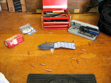 Medford Knife & Tool, TFF-1 Fat Daddy, Flame Finish Titanium, Vulcan D2 Blade 2, front