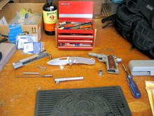 Medford Knife & Tool, On Belay, D2 Blade, Bronze Ano Titanium Handles, front