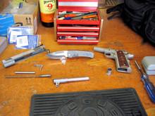 Medford Knife & Tool, Midi Marauder, D2 w/Satin Finish, Unique Flame Finish Ti Handles, front