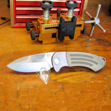 Medford Knife & Tool, Theseus, D2 Blade, Ti Handle w/Bronze Ano, front