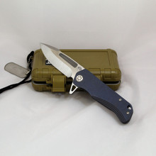 Medford Knife & Tool Proxima, w/S35 Blade, Blue Ano Handles front