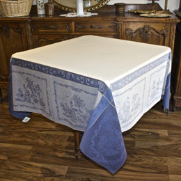 Romance Blue 160x160cm Square Jacquard French Tablecloth Made in France