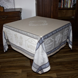 Vignoble Lin160x160cm Square Jacquard French Tablecloth Made in France
