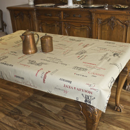 Carte des Vins - Taupe 155x120cm  4-6 Seats Small Tablecloth