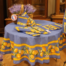 Lemon - Blue French Tablecloth Round 180cm