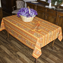 Clos des Oliviers Orange French Tablecloth 155x200cm 6Seats Made in France