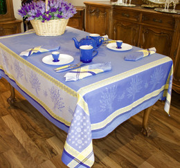 Riez - Blue Jacquard FrenchTablecloth 160x350cm 12 Seats