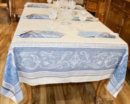 Versailles - Ecru/Blue Jacquard FrenchTablecloth 160x200cm  6seats