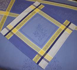 Olivia - Blue Jacquard French Tablecloth 160x300cm 10seats