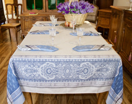 Vaucluse Blue Jacquard French Tablecloth 160x300cm 10seats Made in France