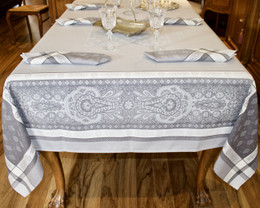 Vaucluse - Perle Jacquard French Tablecloth 160x250cm  8seats