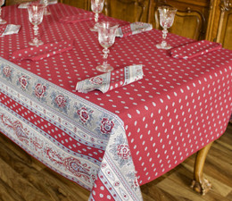 Marat Avignon Bastide Red French Tablecloth 155x200cm 6 Seats COATED Made in France